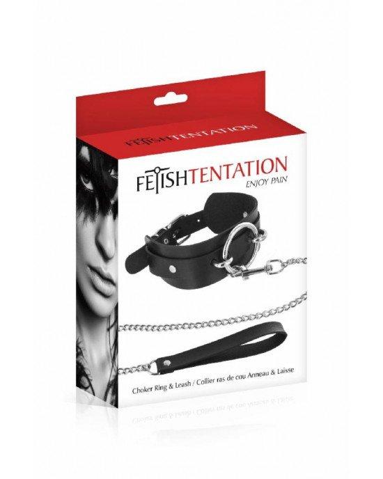 Ошейник с большим кольцом и с поводком Fetish Tentation Ring and Leash (мятая упаковка)